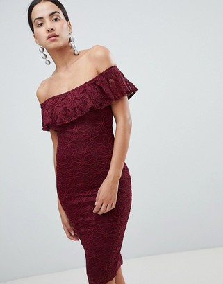 AX Paris Bardot Frill Overlay Lace Midi Dress-Red