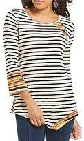 Multiples 3/4 Sleeve Stripe Print Asymmetrical Hem Knit Top