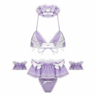 Yeahdor Women's Sexy Cosplay Lingerie Set Cute Ruffle Plaid Baby Doll Teddy Outfit Nightwear Lavender Type A One Size