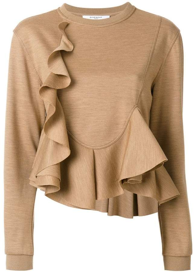 Givenchy frill flared knitted top