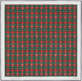 Gucci Check print silk pocket square