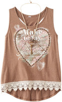 Knitworks Girls 7-16 Lace Hem Graphic Tank Top with Necklace
