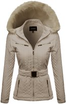 Awesome21 Quilted Fur Lined Lux Gold Zippered Parka Khaki Size M
