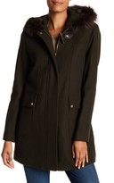 Ellen Tracy Hooded Genuine Fox Fur Trim Coat