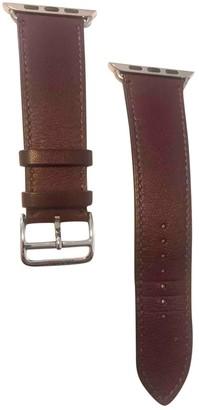 Hermes Apple Watch x Bracelet Burgundy Leather Watches