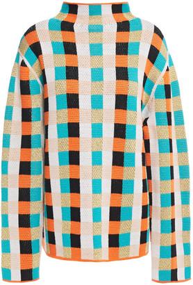 Shrimps Sebastian Checked Merino Wool-blend Turtleneck Sweater