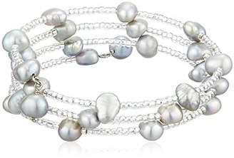 Bella Pearl Pearl Triple Row Bead Bangle Bracelet