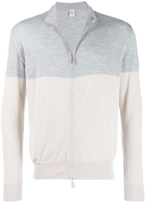 Eleventy Two-Tone Zip-Up Sweater