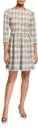 Max Studio Pleated Tweed Dress