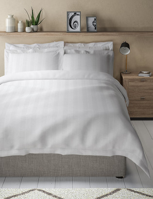 Marks and Spencer Pure Cotton Striped Waffle Bedding Set