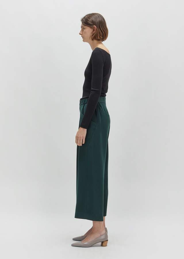 Issey Miyake Stretch Wide Leg Bottom Dark Green Size: JP 2