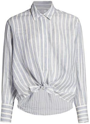 Frame Striped Tie Button-Up Shirt