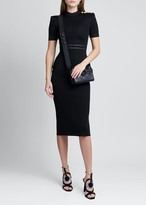 Balmain Short-Sleeve Viscose Knit Midi Dress with Button Shoulders