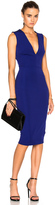 Victoria Beckham Dense Rib Deep V Neck Fitted Dress