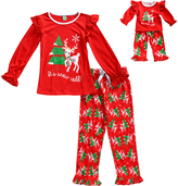 Dollie & Me Red 'It's Snow Cold' Pajama Set & Doll Outfit - Girls