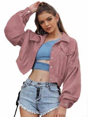 Famulily Cropped Hoodie Jacket Button Hoodies for Women Long Sleeve Crop Top Sweatshirts Teens Girls Pockets Casual Fashion Outwear Black M