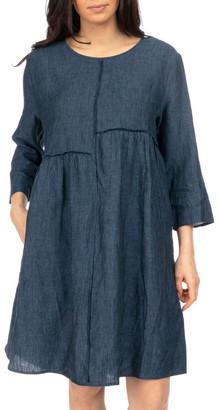 Jump Raw Seam Linen Dress