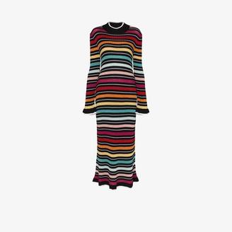 Mary Katrantzou Rainbow stripe knitted midi dress