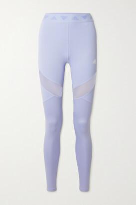 adidas Hyperglam Mesh-paneled Stretch Leggings
