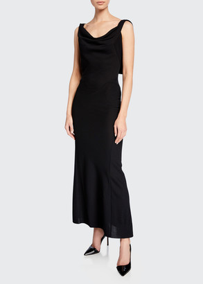 Alaia Cowl-Neck Winged-Back Gown