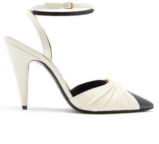 Saint Laurent Diane Ring-embellished Leather Pumps - Cream Multi