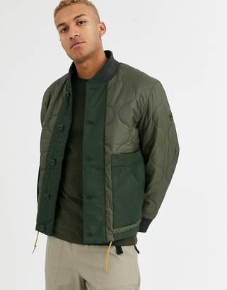 Timberland eco original quilted bomber jacket in khaki-Green