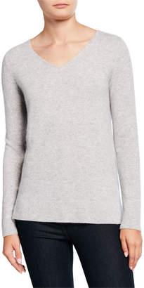 Neiman Marcus V-Neck Long-Sleeve Modern Cashmere Sweater