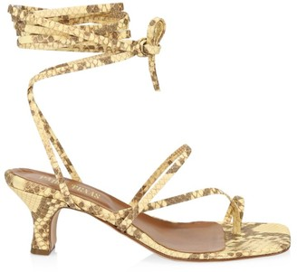 Paris Texas Ankle-Wrap Python-Embossed Leather Sandals