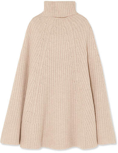 Madeleine Thompson Charlotte Ribbed Wool And Cashmere-blend Turtleneck Poncho - Beige