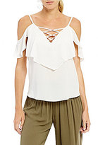 I.N. San Francisco Lace-Up Cold-Shoulder Top