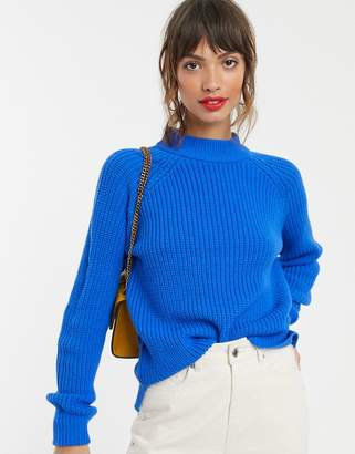 Vero Moda high neck ribbed jumper in blue