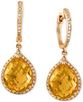 Effy Citrine (6-1/5 ct. t.w.) and Diamond (1/4 ct. t.w.) Drop Earrings in 14k Gold