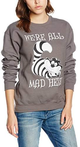 Disney Women's Alice in Wonderland We're All Mad Here Sweatshirt,(Size:Large)