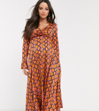 Asos DESIGN Maternity wrap maxi dress in bright snake print