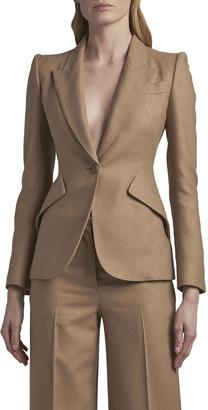 Alexander McQueen Peak-Shoulder One-Button Camel Wool Jacket