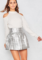 Missy Empire Candice Silver Structured Jacquard Mini Skater Skirt