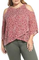 Lucky Brand Cold Shoulder Paisley Top