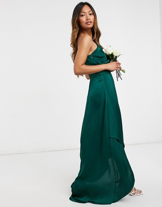 TFNC Bridesmaid one shoulder maxi dress in green