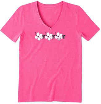 Life is Good Women's Tee Shirts Fiesta - Fiesta Pink Hibiscus Stripe Cool Vee V-Neck Top - Women & Plus