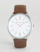 French Connection Brown Leather Strap Watch White Dial