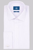 Moss Bros Slim Fit Lilac Double Cuff Stripe Shirt