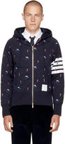 Thom Browne Navy Classic Four Bar Skier Icon Zip Up Hoodie