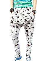 TRURENDI Men's Hip Hop Sweat Pants Star Print Harem Dance Jogger Baggy Trousers Slack