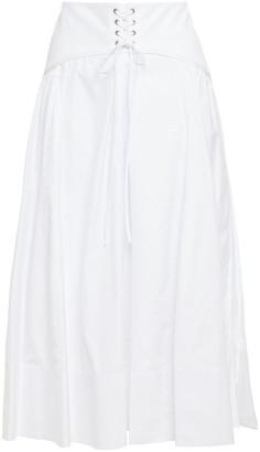 3.1 Phillip Lim Lace-up Cotton-poplin Midi Skirt