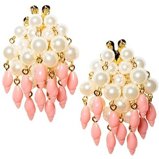 Lele Sadoughi 14K Goldplated, Acrylic Pearl & Resin Conch Shell Cluster Earrings