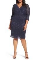 Alex Evenings Plus Size Women's Surplice Sequin Lace Sheath Dress