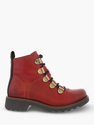 Fly London Roji544Fly Leather Lace Up Ankle Boots, Red