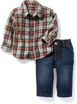 Old Navy Plaid Shirt & Jeans Set for Baby
