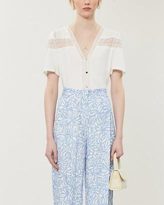 Sandro Lace-panel cotton-blend T-shirt