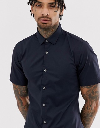 French Connection plain stretch short sleeve shirt-Navy